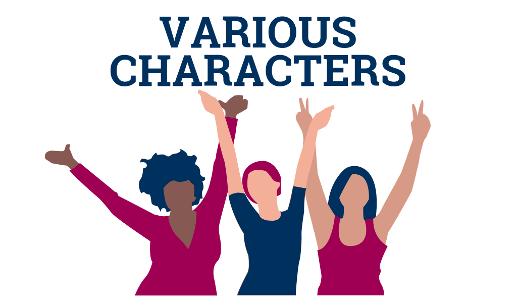 Various Characters logo composed of three diverse women figures